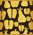 apple and pears gold on brown background seamless vector image vector image