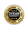 badge isolated with 3 years of warranty sign vector image vector image