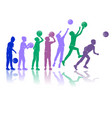 basketball silhouettes dynamic colored vector image