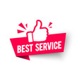 Best service label modern web banner thumbs up