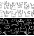 black and white doodle cats seamless borders vector image