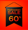 black pennant with inscription halloween sale vector image vector image