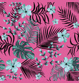 blue hibiscus flowers seamless pattern pink vector image vector image