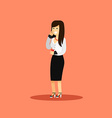 Business woman in black white costume vector image vector image