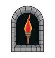 cartoon medieval torch flame light vector image vector image