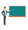 cartoon young profesor teacher man at blackboard vector image