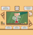 chemical experiment on chalkboard in classroom vector image vector image