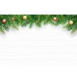 christmas with fir branch on white wooden vector image vector image