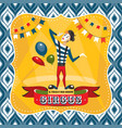 circus card with mime artist vector image vector image