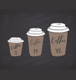coffee menu mugs size chart with lettering vector image