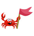 crab with red flag on white background vector image vector image