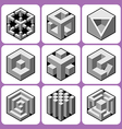 cube icon set 6 vector image vector image