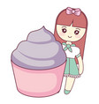 cute and little girl with sweet cupcake vector image vector image
