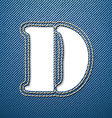 Denim jeans letter D vector image vector image