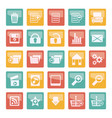 detailed internet icons over colored background vector image