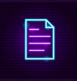 document neon label vector image vector image