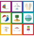 flat icon beach set of ocean surfing sphere and vector image vector image