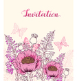 Floral background with pink poppy vector image vector image