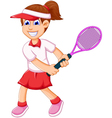funny girl cartoon playing tennis vector image vector image