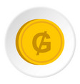 gold coin with guarani sign icon circle vector image vector image