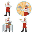 good smiling chefset of four vector image vector image
