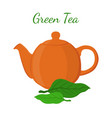 green tea - asian drink teapot matcha tea leaf vector image vector image