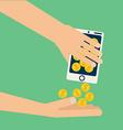 hand bitcoin dollar vector image