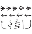 hand drawn arrows with doodle style isolated on vector image vector image