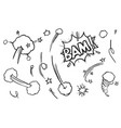 hand drawn comic explosion element sketch set vector image