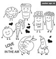 hand drawn outlined set of funny fruits vector image vector image