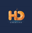 hd letter with origami triangles logo creative vector image vector image