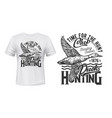 hunting club t-shirt print with duck bird vector image vector image