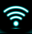 icon wi-fi zone blue neon lamp sign button for vector image vector image