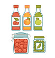 juice in bottles and preserves in jars poster vector image vector image