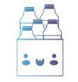 kawaii paper bag with milk bottles in degraded vector image