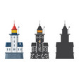 lighthouse icon in flat and outline style vector image