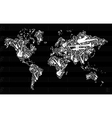 Music instruments in world map vector image