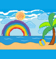 ocean scene with rainbow and sun vector image vector image
