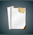 Open white book and vintage paper note vector image vector image