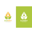 pen and leaf logo combination write vector image