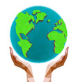 polygonal hands holding polygon globe vector image