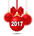 Red Christmas Ball with Bow and Blur Balls vector image vector image