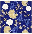 rich blue and gold floral seamless repeat pattern vector image vector image