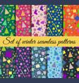 seamless patterns christmas winter pattern with vector image vector image