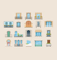 set colorful beautiful balconies vintage vector image vector image