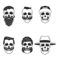 Set of the skulls with hairstyle and hats Design vector image vector image