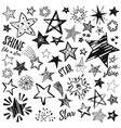 stars icon set hand drawn sketch doodle vector image