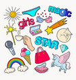 teenager girl style doodle with rainbow unicorn vector image vector image