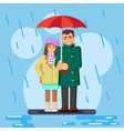 The cute flat loving couple in the rain vector image