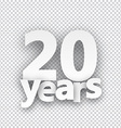 Twenty years paper sign vector image